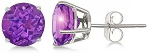 ALL NATURAL GENUINE GEMSTONE Sterling Silver FEBRUARY PURPLE AMETHYST Round Stud Earrings Prong Set
