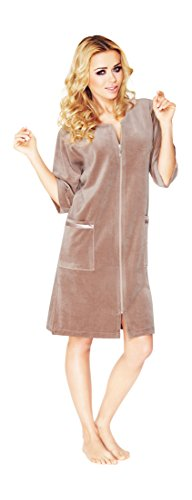 Women's Cotton Housecoat Gown Dress Velour Bathrobe Zip U...