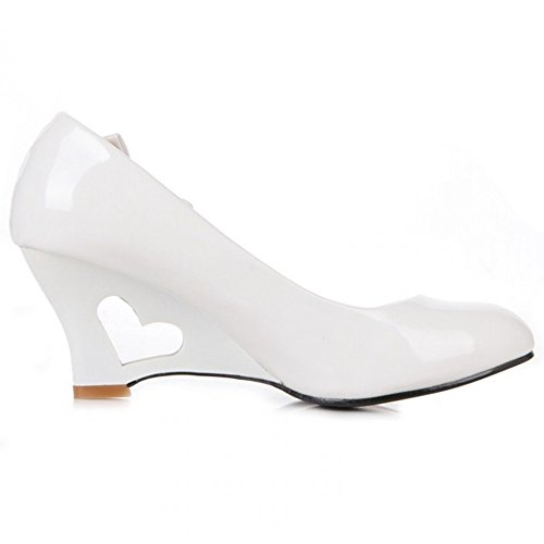 LongFengMa Women Hollow Out Wedges High Heel Shoes Sweet Bowknot Fashion Lady Pumps Shoes White nDHOOSLkzt