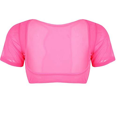 Alvivi Women's Sheer Mesh Short Sleeve Open Bust Crop Top Blouses See Through Belly Dance Costume Hot Pink One Size