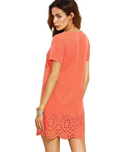 Shift Orange Crew Women's Hollow SheIn Dress Short Neck Sleeve Y7S8FS
