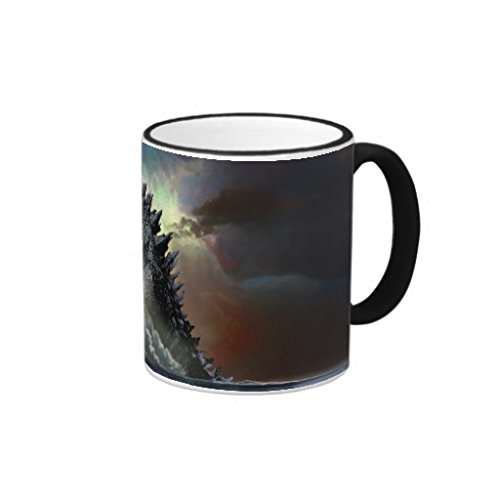 Pioenfly Godzilla City Scene Ringer Coffee Mugs (Godzilla Coffee Cup compare prices)