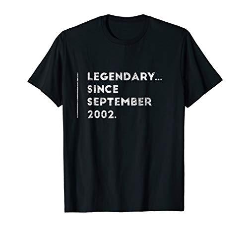 Legendary Since September 2002 Sweet 16 Birthday Gift Shirt -
