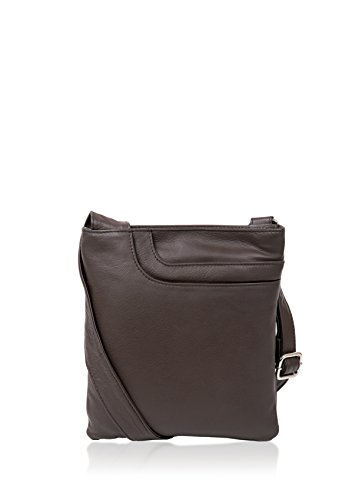 Detail Body Bag Grained Luxury Cross Brown Tassel Pocket Brown Women's Soft w Walnut Leather qqUB0S7w