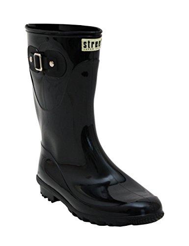 Ladies New Womens Short Mid Calf Girls Snow Mud Festival Waterproof Wellington Rain Boots Wellies Black RFfy8En3d
