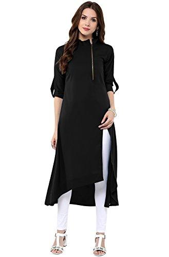 Janasya Indian Tunic Tops Crepe Kurti for Women (XXXL) Black