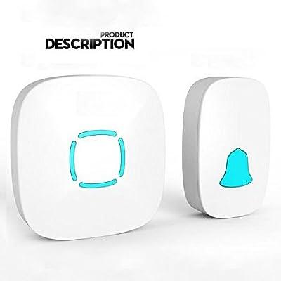 Wireless Doorbell Kit, 1 Plug-in Receiver & 1 IP44 Waterproof Transmitter at 1000-feet Range, No Radiation Cordless Music Door Set for Home Villa Apartment Elder-care