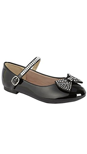 Link Gloria-60K Girl's Bowknot Deco Rhinestones Adorned Mary Jane Flat Shoes (11, Black Pat)