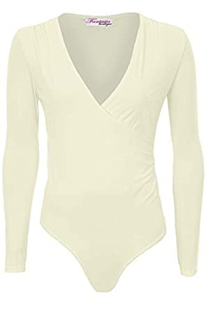 7356e68fe4 Ladies Long Sleeve Soft Basic Slinky Plunge V Neck Wrap Leotard Bodysuit   Cream