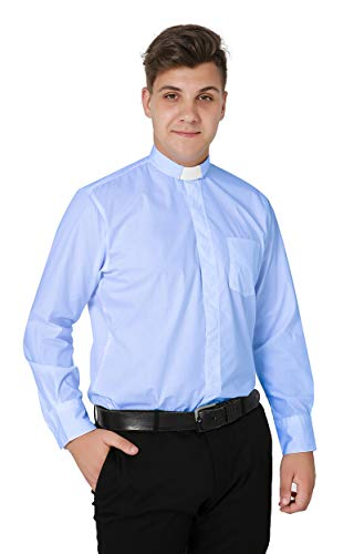 (Ivyrobes Mens Tab-Collar Long Sleeves Clergy Shirt Sky Blue (Necksize 18.5