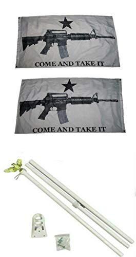 ALBATROS 3 ft x 5 ft White Come with Take It Guns 2ply Flag White with Pole Kit Set for Home and Parades, Official Party, All Weather Indoors Outdoors