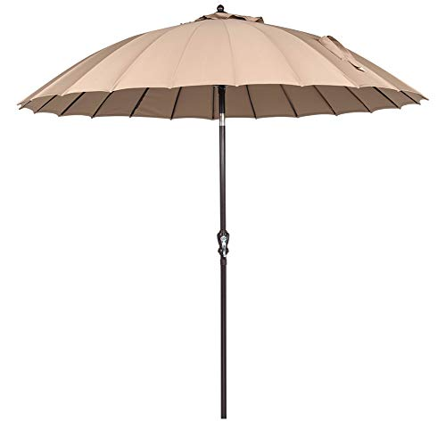 Sundale Outdoor 9 Ft Steel Patio Umbrella Table Market Umbrella with Crank Lift and Push Button Tilt, for Garden, Deck, Backyard, Pool, 24 Fiberglass Ribs, 100% Polyester Canopy ()