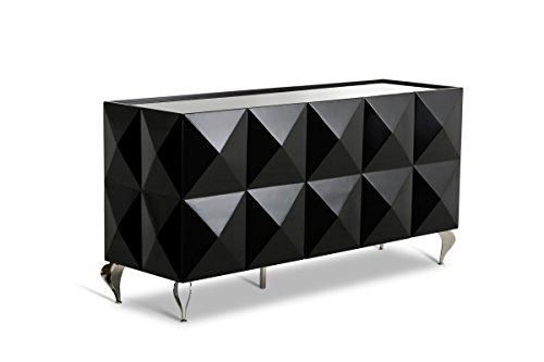 Black Lacquer Buffet - VIG Furniture Versus Eva Black Lacquer 3-Door Buffet