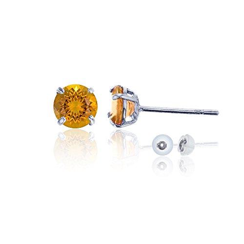 Madeira Citrine Gemstone - 14K White Gold 6mm Round Madeira Citrine Stud Earring