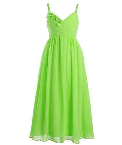 FAIRY COUPLE Big Girl's Spaghetti Straps A-line Chiffon Long Flower Girl Dress K0095 12 Apple Green (Green Fairy Dress)