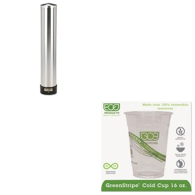 KITECOEPCC16GSSJMC3400P - Value Kit - ECO-PRODUCTS,INC. GreenStripe Cold Drink Cups (ECOEPCC16GS) and San Jamar Large Water Cup Dispenser w/Removable Cap (SJMC3400P) by Eco-Products, Inc