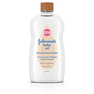Johnson's Baby Oil, Mineral Oil Enriched With Shea & Cocoa Butter to Prevent Moisture Loss, Hypoallergenic, 20 fl. oz