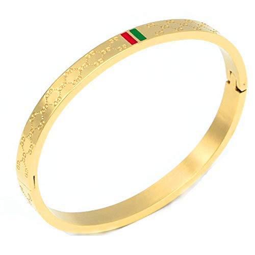 Gucci Bangle Bracelet - Fly.BUCKNOR Women's Fashion Classic Lovely Brilliance Bracelet - Titanium Steel Red and Green Bracelets 6.7 Inch (Gold)