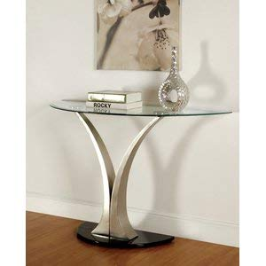 Glass Console Table with Silver Metal Base - Oval Console Table with Curving Pedestals - Clear