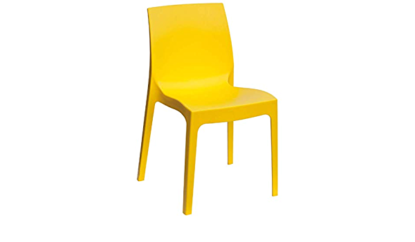 Amazon Com Igap Rome Stackable Patio Dining Chair Yellow 2 Piece Set Heavy Duty Plastic Made Of Recycled Materials Euro Design Kitchen Dining