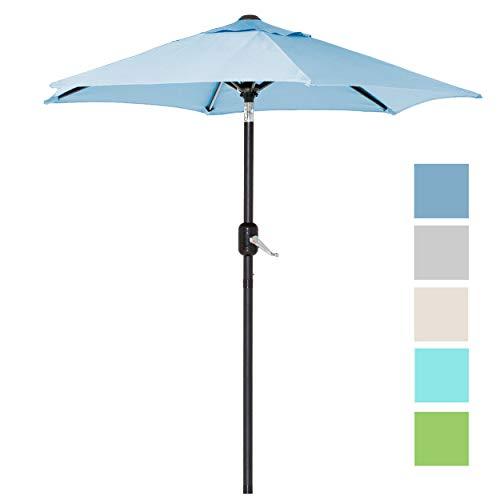 6 Ft Outdoor Patio Umbrella with Aluminum Pole, Easy Open/Close Crank and Push Button Tilt Adjustment - Blue Market Umbrellas