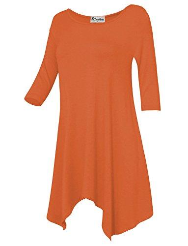 HRYfashion Womens Sharkbite Hem 3/4 Sleeve Crepe Tunic Blouse HRYCWD116-FIESTA-US (Fiesta Tunic)