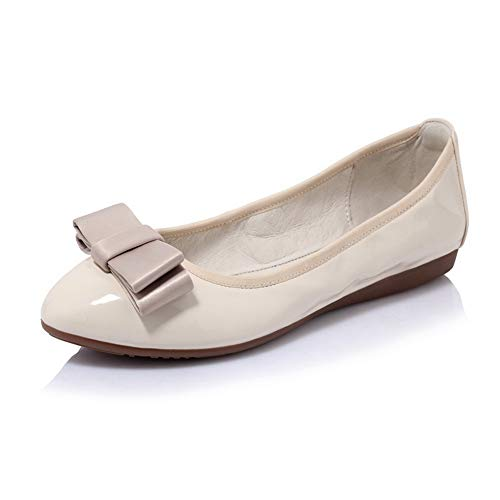 BalaMasa Womens Solid Bows Travel Urethane Pumps Shoes APL10806 apricot