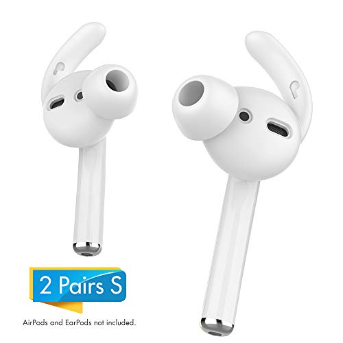 AhaStyle AirPods Ear Hooks 2 Pairs Earbuds Covers [Sound Quality Enhancement] Compatible with Apple AirPods 2 and 1 or EarPods(Clear-2 Pairs Small)