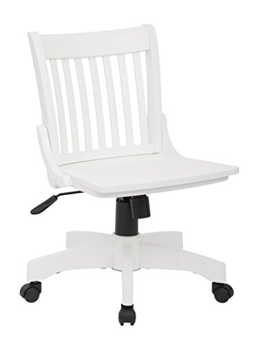 rmless Wood Bankers Desk Chair with Wood Seat, White ()