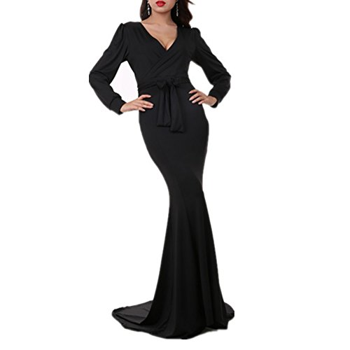 Women's Mermaid V-Neck Long Sleeve Halloween Party Maxi Dress With Belt, Black, XL -