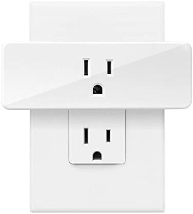 Smart Plug Wi-Fi Enabled,Compact Design,Space Saving,Wireless Outlet with Schedule,Timer Function,Remote Control,Works with Google Home Alexa and IFTTT