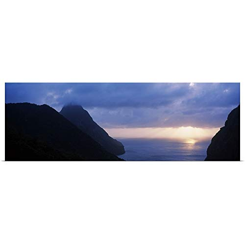 "GREATBIGCANVAS Poster Print Entitled Sunset The Pitons St Lucia Windward Islands by 48""x16"""