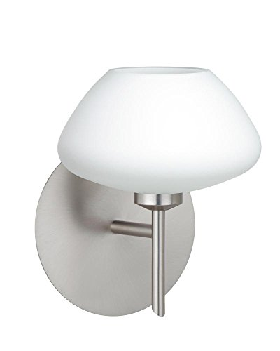 Besa Lighting 1SW-541007-LED-SN Besa, Peri Mini Sconce, Opal Matte, Satin Nickel Finish, 1x5W LED (Peri Sconce Satin)