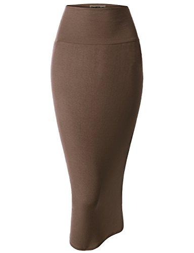 Doublju Women Lightweight Colorful Pencil Big Size Skirt MOCHA,2XL