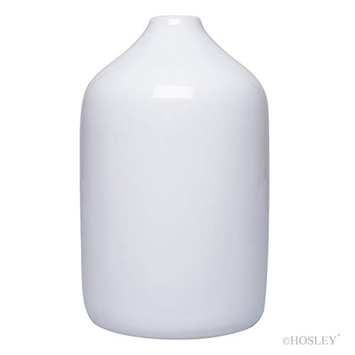 Hosley 8 Inch High White Ceramic Vase. Ideal Gift for Wedding Floral Vase Votive Garden Party Home Decor Office Spa Aromatherapy O9 (Floral Vase Ceramic)