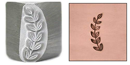 (Beaducation Caesar Branch Border Metal Design Stamp, 11.75mm Garden Leaves Stem Right Facing Punch Stamping Tool Hand Stamped DIY Jewelry Crafts Original Metal Design Stamps)