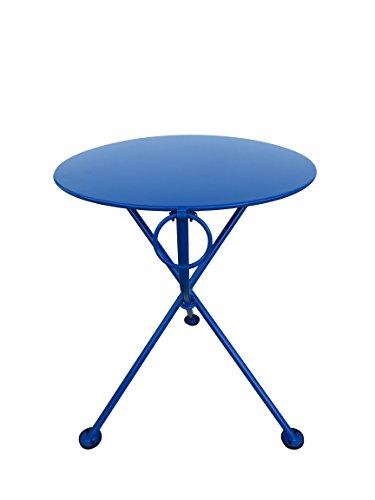 (Mobel Designhaus French Café Bistro 3-leg Folding Bistro Table, Signal Blue Frame, 24