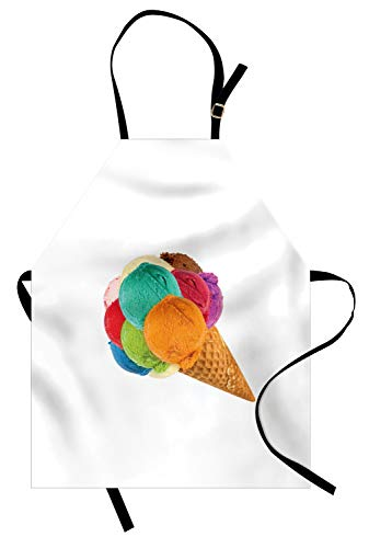 - Ambesonne Dessert Apron, Amazing Huge Summer Food with Vivid Scoops on Lone Cone Photo for Ice Cream Shops, Unisex Kitchen Bib Apron with Adjustable Neck for Cooking Baking Gardening, Multicolor