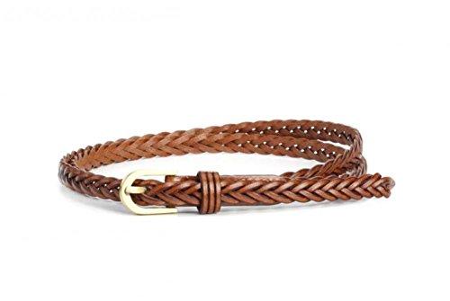 Women Braided Belts Faux Leather Woven Belt For Girls Fashion Waist Buckle Belt Strap,Camel 6,One Size - Braided Waist Belt