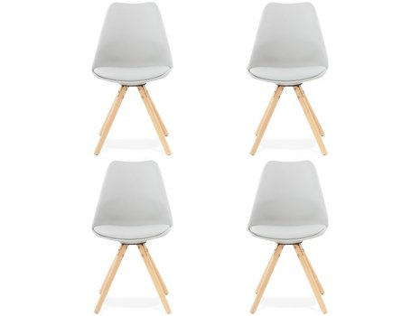 Chaise design scandinave MALMO (lot de 4) gris clair
