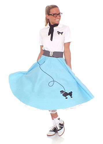 Hip Hop 50s Shop Adult 7 Piece Poodle Skirt Costume Set Light Blue Small