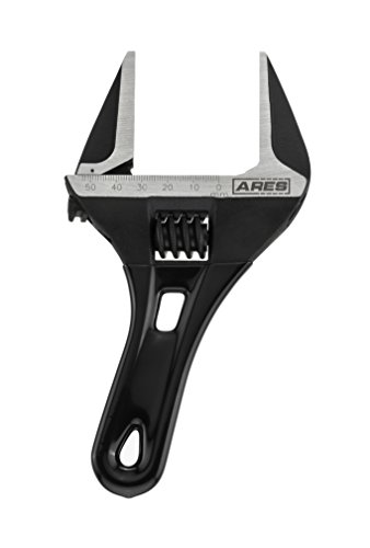 ARES 70303 | 53mm Stubby Adjustable Wrench | Stubby, Ultra Thin Design for Quick Access to Tight Spaces | Mouth is 30 Percent Deeper than Normal Wrenches