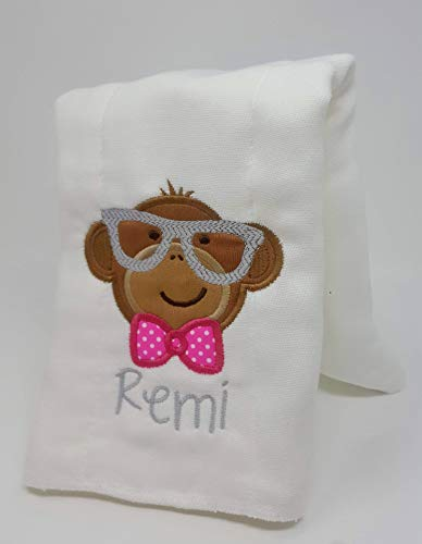 Monkey Serie - Burp Cloth for Baby Gifts, 100% Organic Cotton, Embroidered with Personalize Name by We Made It For U by We Made It For U