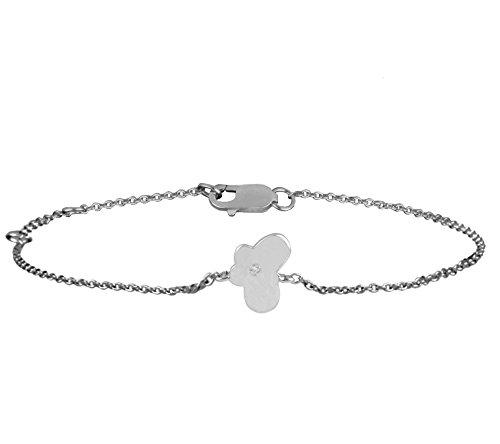 Or Blanc 18 ct Bracelet Diamant en forme de papillon, 0.01 Ct Diamant, GH-SI, 2.43 grammes.