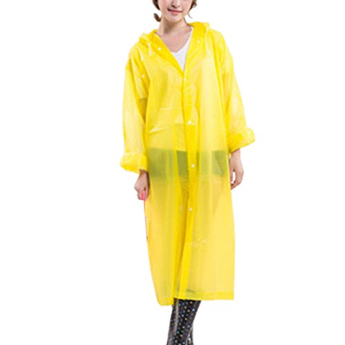 Zhhlaixing Unisex Lightweight Waterproof Raincoat Outdoor Portable EVA Hooded Rainwear Yellow