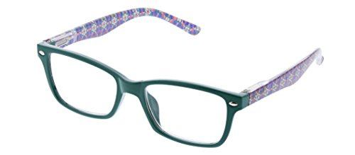 Peepers Women's Gypsy Soul - Emerald/Floral 2493250 Square Reading Glasses, Emerald & Floral, -