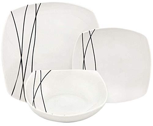 Melange 18 Piece Square Porcelain Dinner Set (Black Lines)| Service for 6 | Microwave, Dishwasher & Oven Safe | Dinner Plate, Salad Plate, Soup Bowl (6 Each)