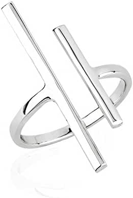 925 Sterling Silver Two (2) Uneven Vertical Minimalist Bar Statement Ring 25mm, Sizes 6-8
