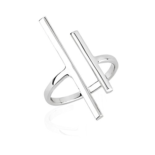 925 Sterling Silver Two (2) Uneven Vertical Minimalist Bar Wrap Around Knuckle Midi or Thumb Ring - Sterling Silver Wrap Ring