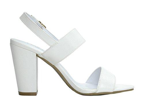 Open TOETOS White pu Mid Women's Chunky Heel Toe Stella Pump Sandals EqHEwFr4